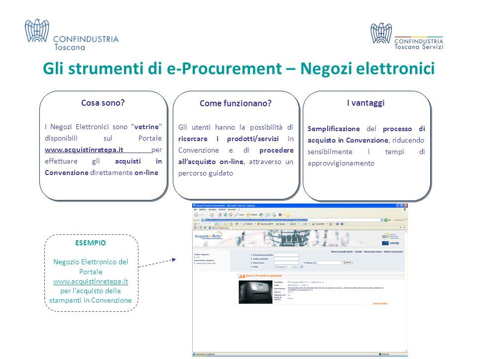 Gli strumenti di e-Procurement – Negozi elettronici