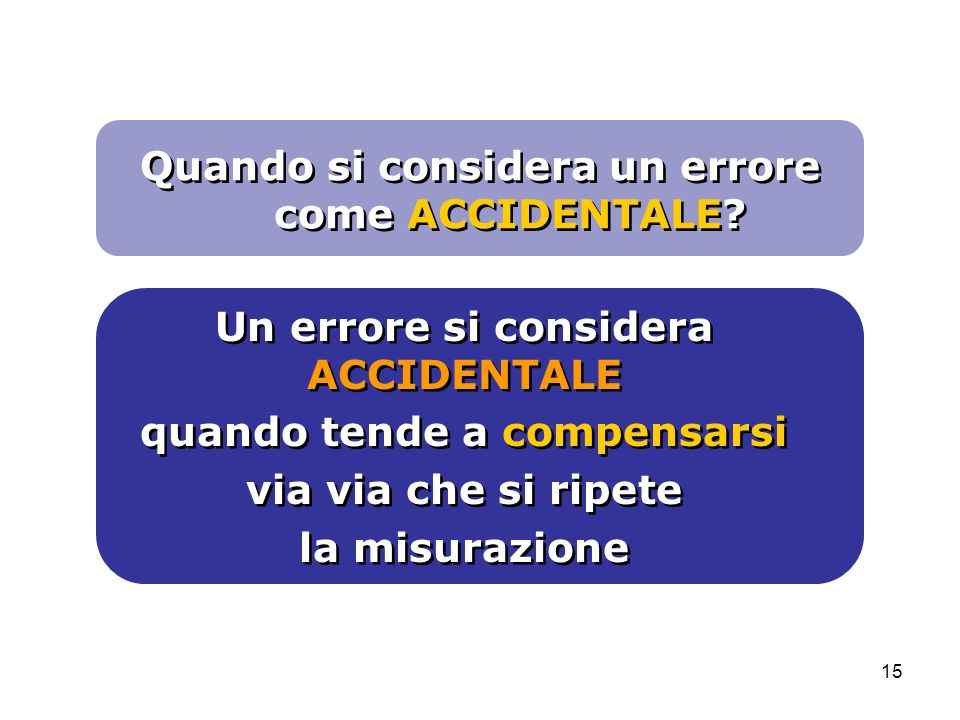 Quando si considera un errore come ACCIDENTALE