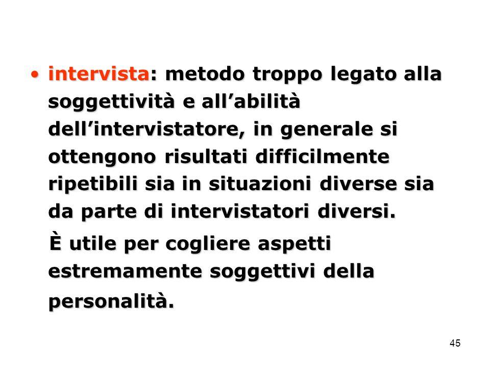 intervista: metodo troppo legato alla soggettività e all'abilità dell'intervistatore, in generale si ottengono risultati difficilmente ripetibili sia in situazioni diverse sia da parte di intervistatori diversi.