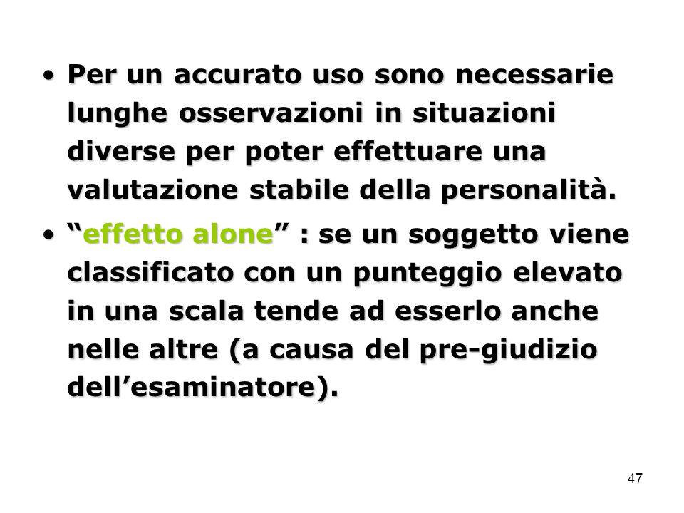 Per un accurato uso sono necessarie lunghe osservazioni in situazioni diverse per poter effettuare una valutazione stabile della personalità.