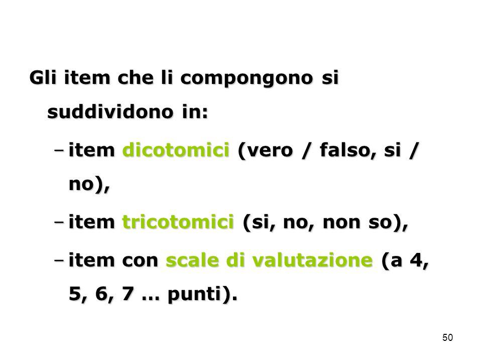 Gli item che li compongono si suddividono in: