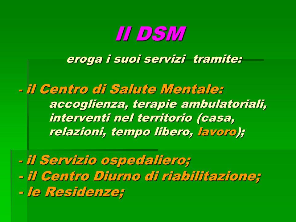 Il DSM eroga i suoi servizi tramite: - il Centro di Salute Mentale: accoglienza, terapie ambulatoriali, interventi nel territorio (casa, relazioni, tempo libero, lavoro); - il Servizio ospedaliero; - il Centro Diurno di riabilitazione; - le Residenze;