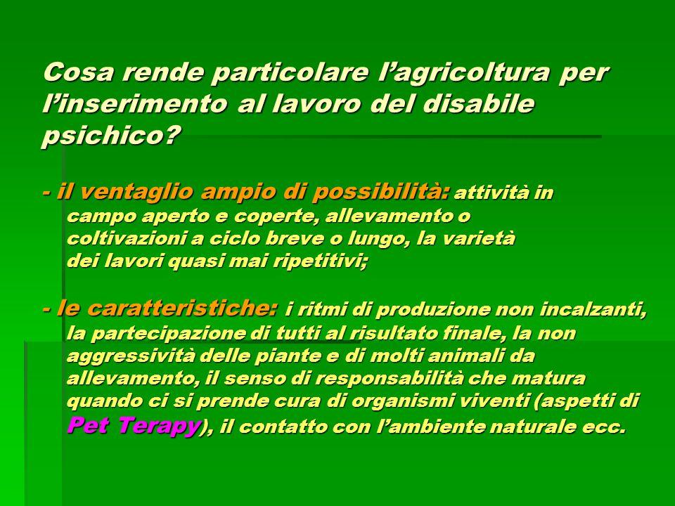 Cosa rende particolare l'agricoltura per l'inserimento al lavoro del disabile psichico.