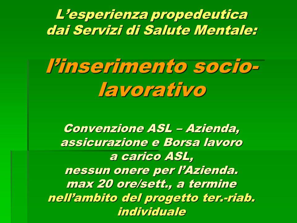 L'esperienza propedeutica dai Servizi di Salute Mentale: l'inserimento socio-lavorativo Convenzione ASL – Azienda, assicurazione e Borsa lavoro a carico ASL, nessun onere per l'Azienda.
