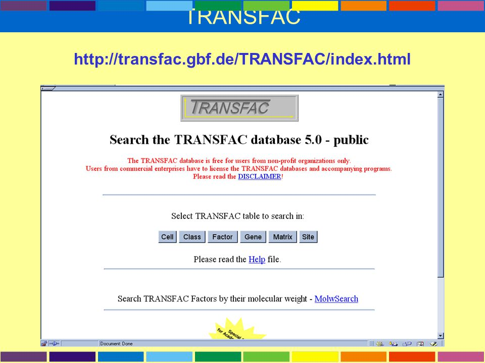TRANSFAC http://transfac.gbf.de/TRANSFAC/index.html