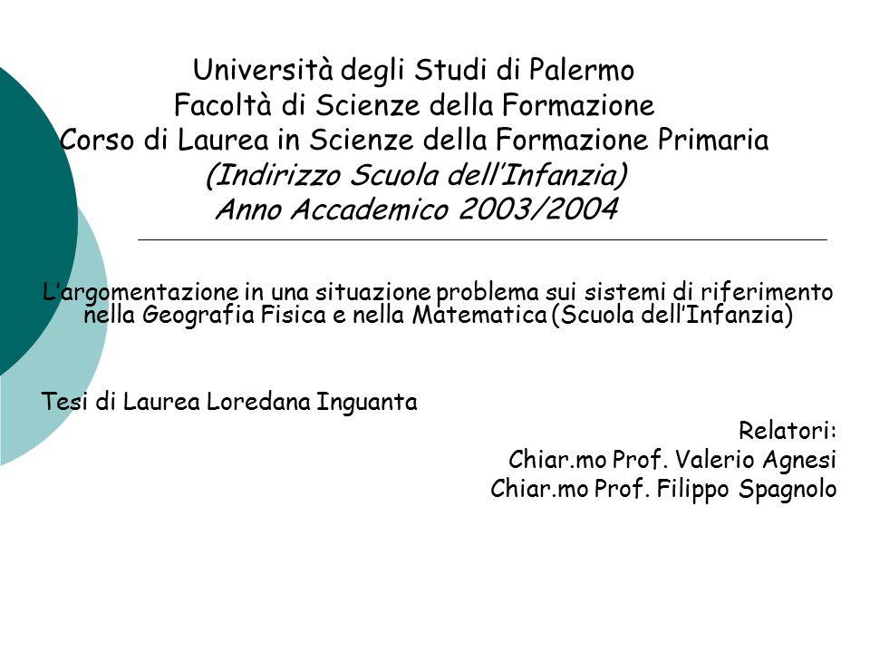 Università degli Studi di Palermo Facoltà di Scienze della Formazione Corso di Laurea in Scienze della Formazione Primaria (Indirizzo Scuola dell'Infanzia) Anno Accademico 2003/2004