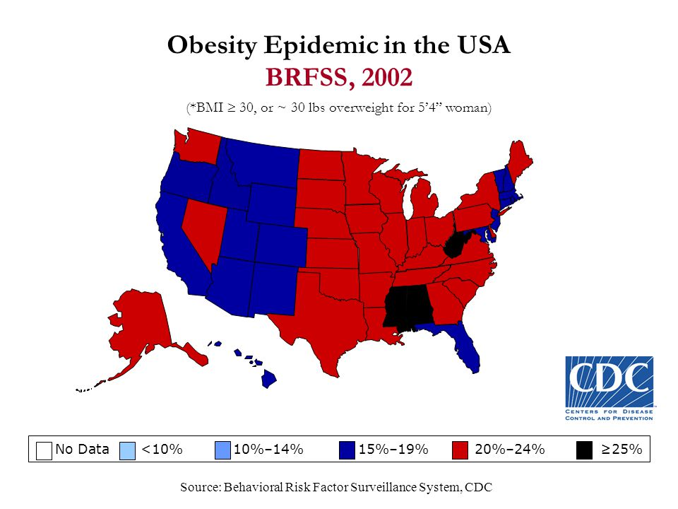 Obesity Epidemic in the USA BRFSS, 2002