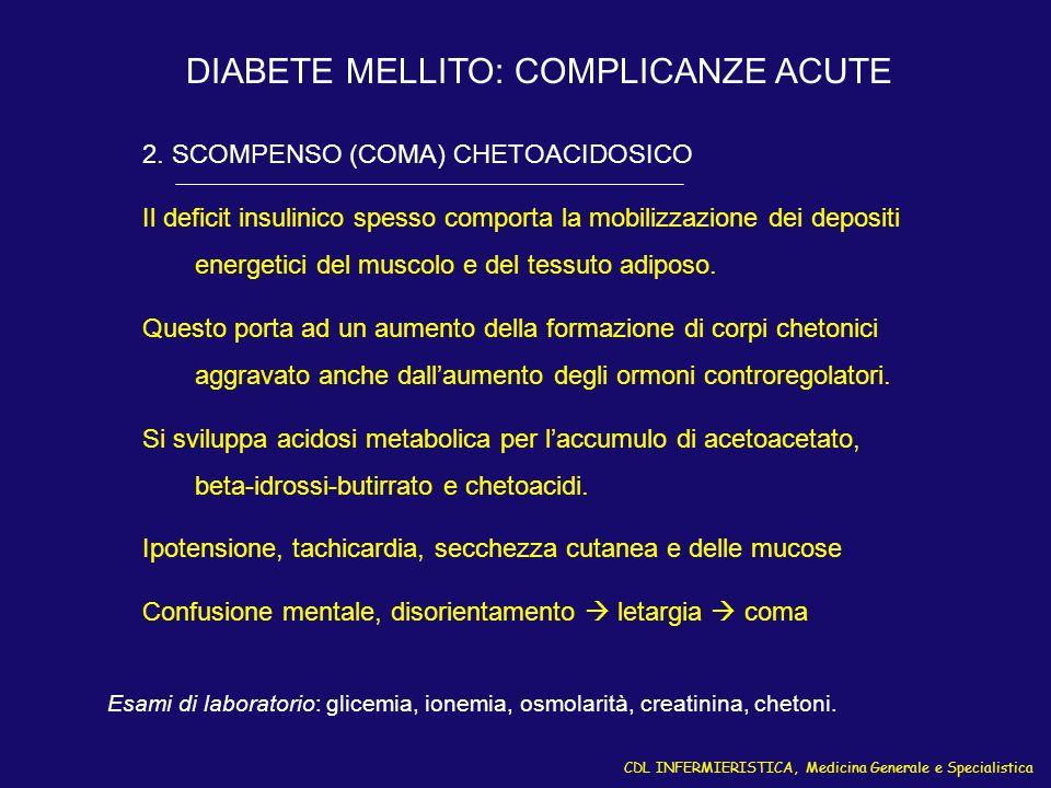 DIABETE MELLITO: COMPLICANZE ACUTE
