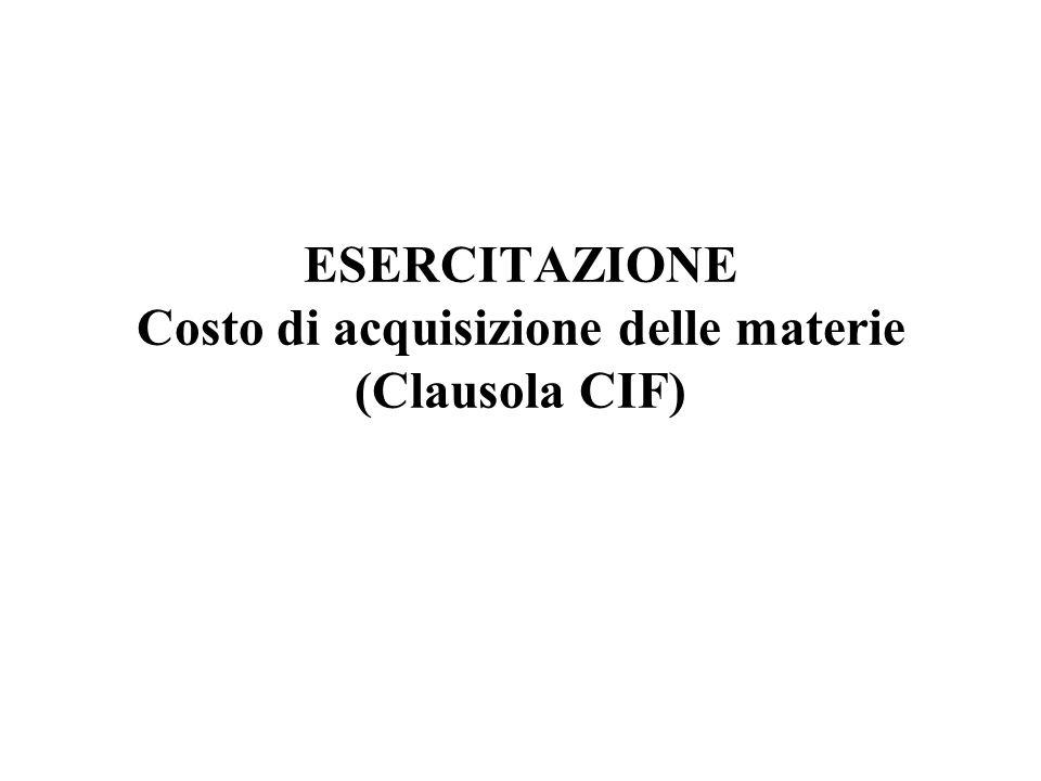 ESERCITAZIONE Costo di acquisizione delle materie (Clausola CIF)