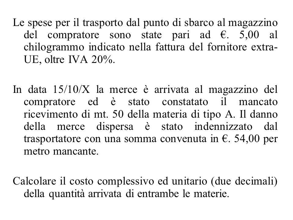 Le spese per il trasporto dal punto di sbarco al magazzino del compratore sono state pari ad €. 5,00 al chilogrammo indicato nella fattura del fornitore extra-UE, oltre IVA 20%.