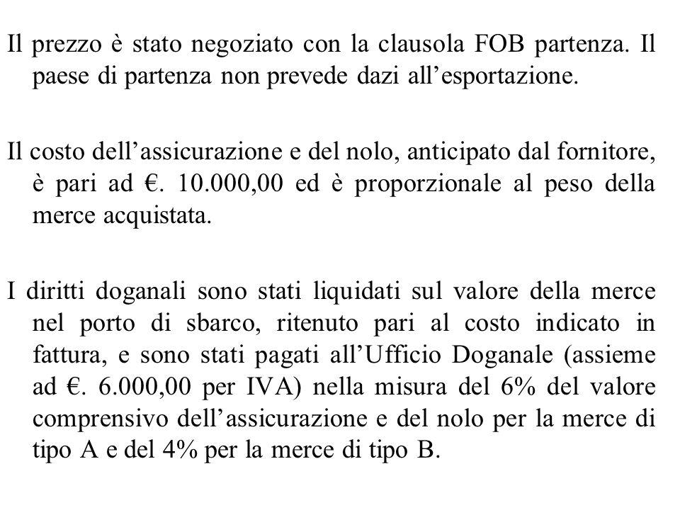 Il prezzo è stato negoziato con la clausola FOB partenza