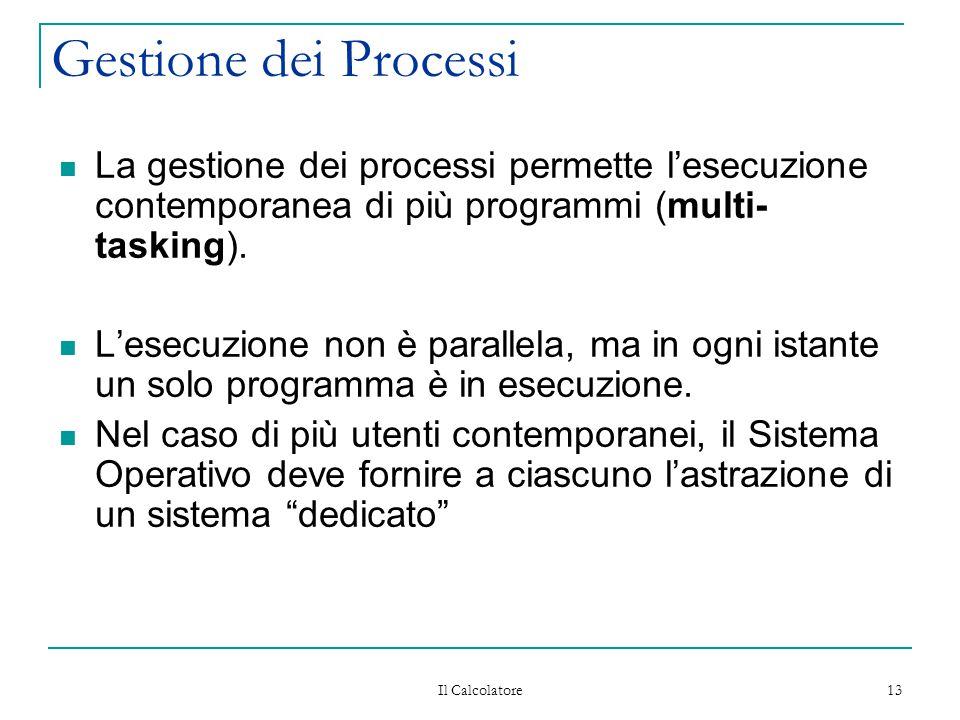Gestione dei Processi La gestione dei processi permette l'esecuzione contemporanea di più programmi (multi-tasking).