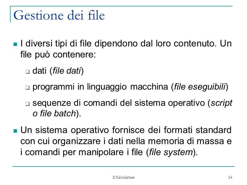 Gestione dei file I diversi tipi di file dipendono dal loro contenuto. Un file può contenere: dati (file dati)