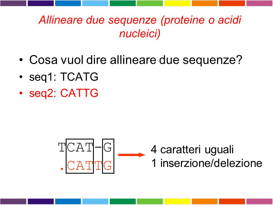 Allineare due sequenze (proteine o acidi nucleici)