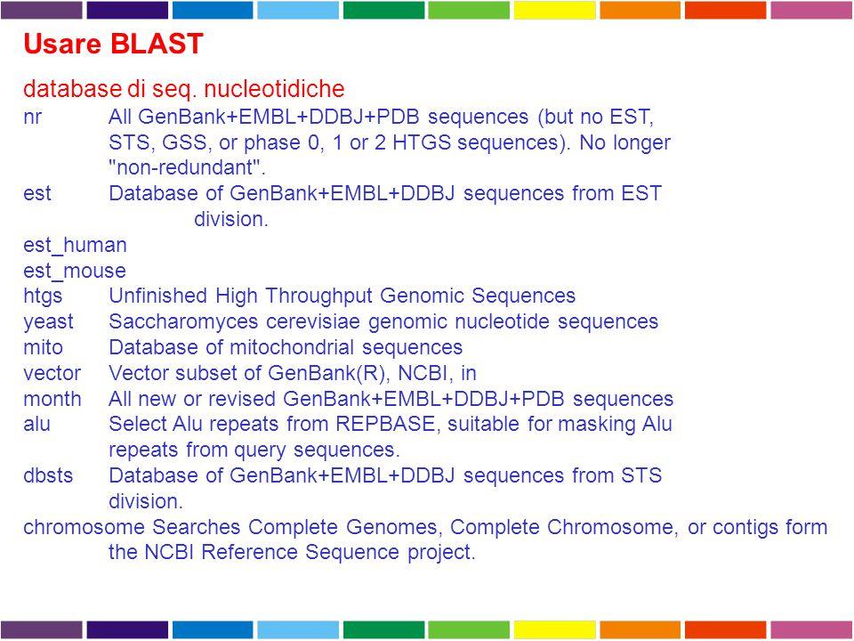 Usare BLAST database di seq. nucleotidiche