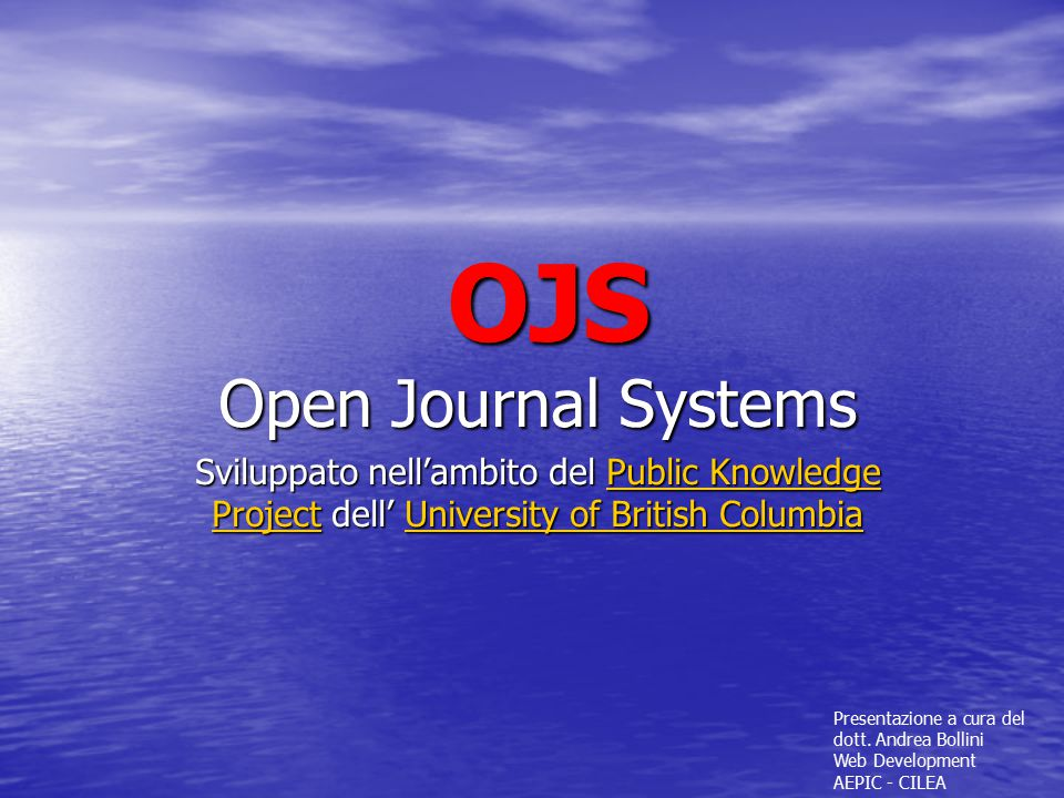 OJS Open Journal Systems