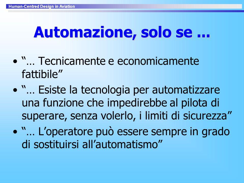 Automazione, solo se ... … Tecnicamente e economicamente fattibile