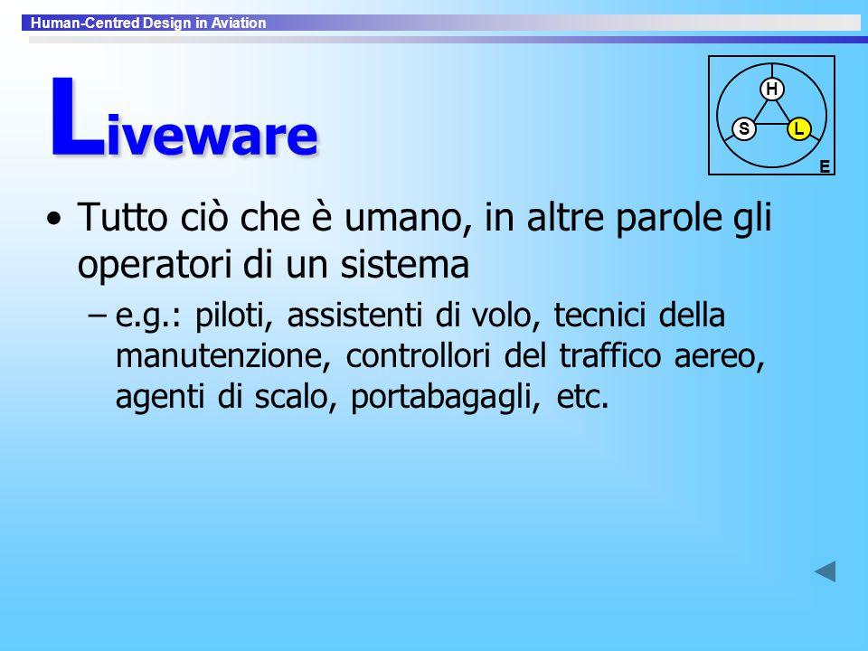 Liveware S. H. L. E. Tutto ciò che è umano, in altre parole gli operatori di un sistema.