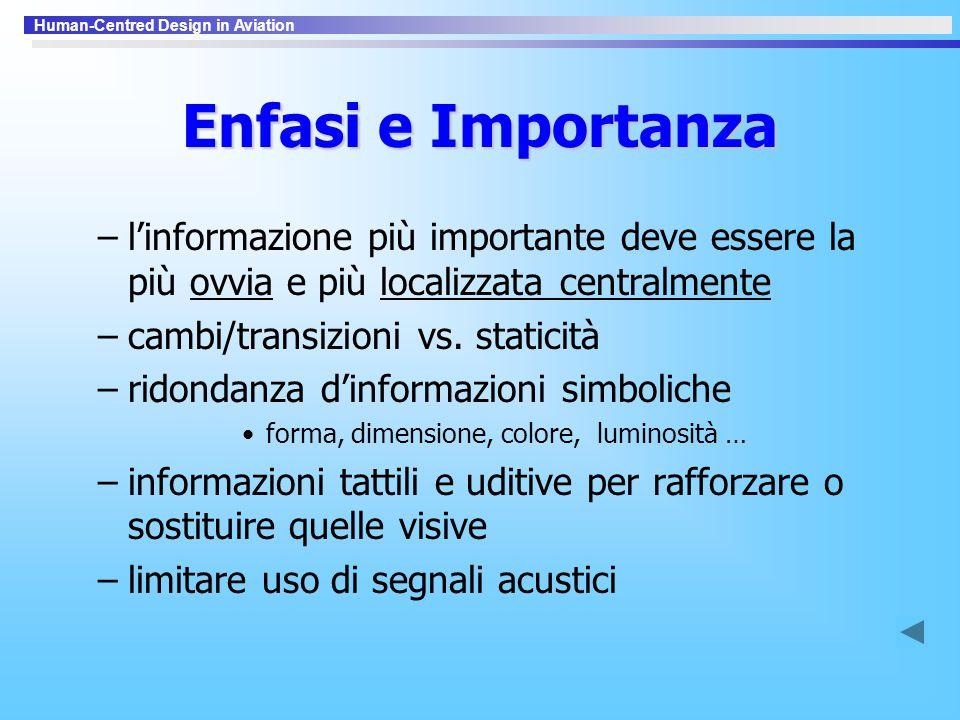 Enfasi e Importanza l'informazione più importante deve essere la più ovvia e più localizzata centralmente.