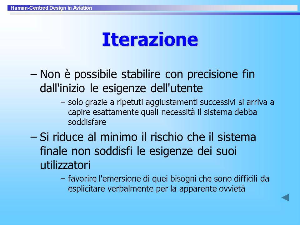 Iterazione Non è possibile stabilire con precisione fin dall inizio le esigenze dell utente.