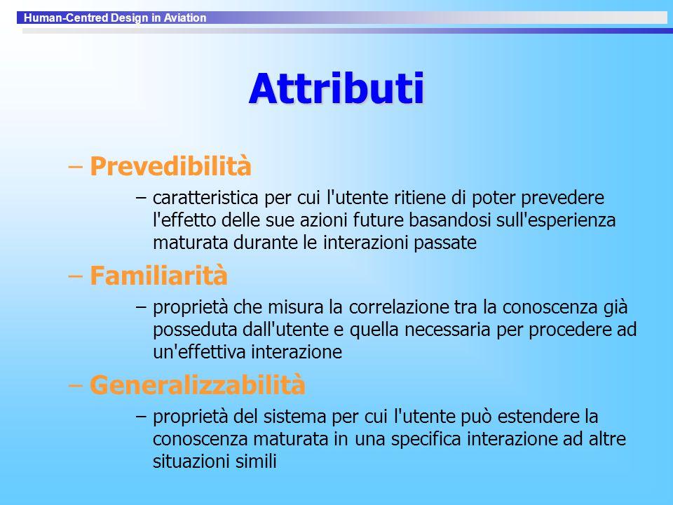 Attributi Prevedibilità Familiarità Generalizzabilità