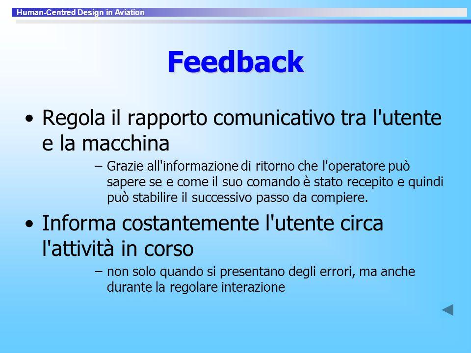 Feedback Regola il rapporto comunicativo tra l utente e la macchina