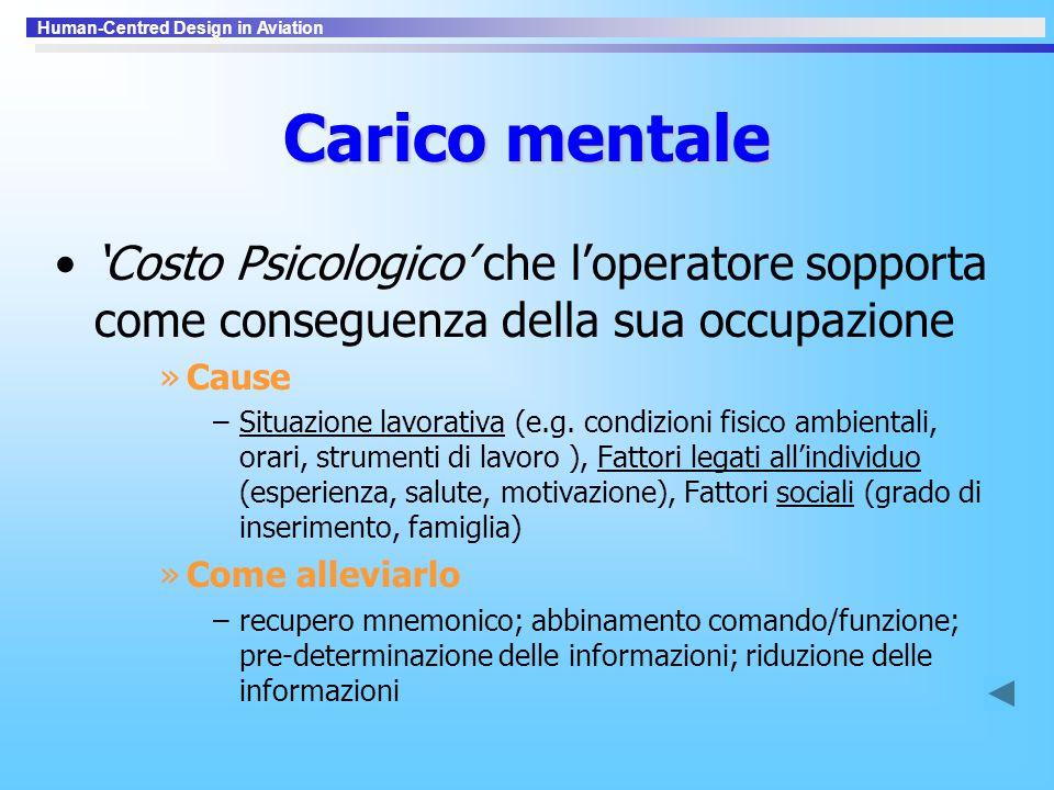 Carico mentale 'Costo Psicologico' che l'operatore sopporta come conseguenza della sua occupazione.