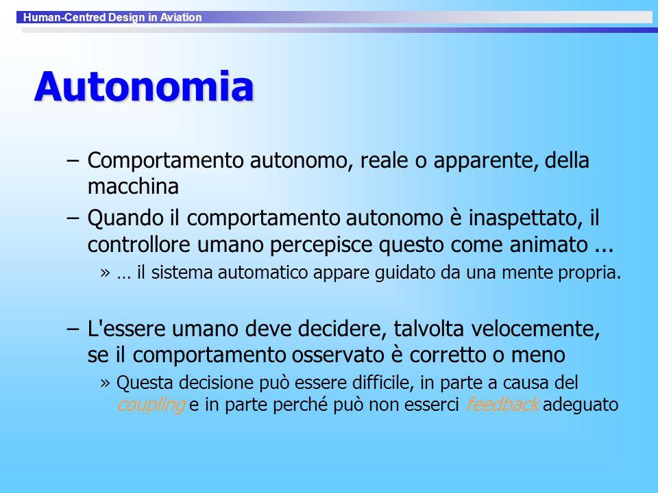 Autonomia Comportamento autonomo, reale o apparente, della macchina