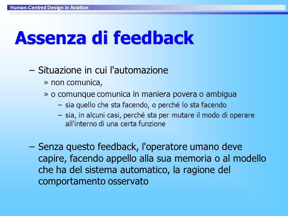 Assenza di feedback Situazione in cui l automazione