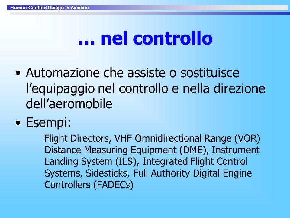 … nel controllo Automazione che assiste o sostituisce l'equipaggio nel controllo e nella direzione dell'aeromobile.