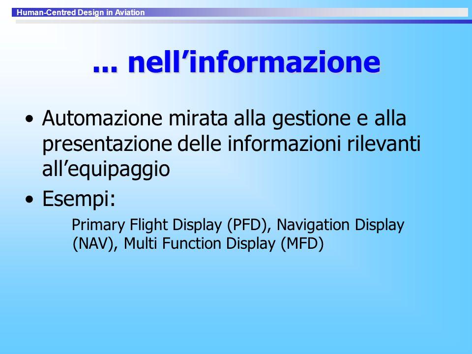 ... nell'informazione Automazione mirata alla gestione e alla presentazione delle informazioni rilevanti all'equipaggio.