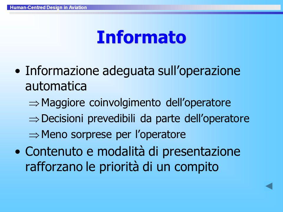 Informato Informazione adeguata sull'operazione automatica