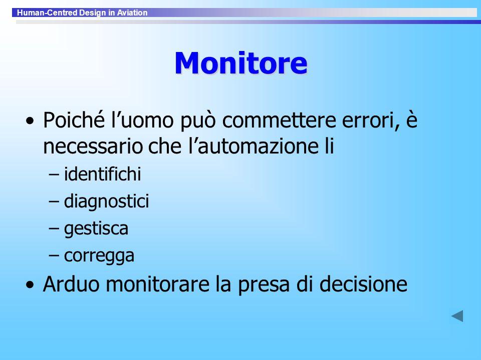 Monitore Poiché l'uomo può commettere errori, è necessario che l'automazione li. identifichi. diagnostici.