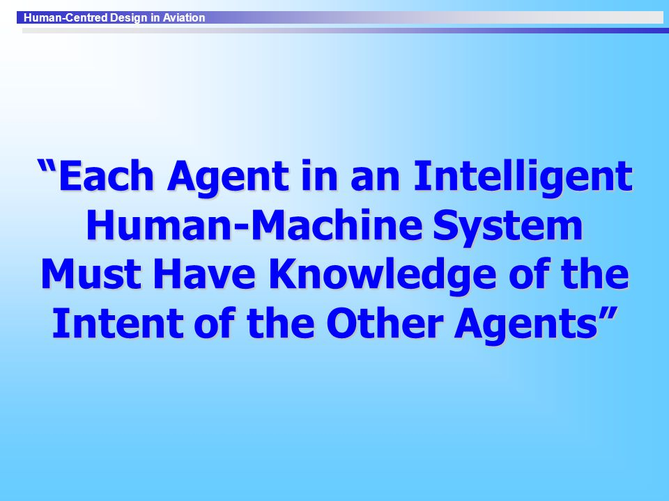 Each Agent in an Intelligent Human-Machine System Must Have Knowledge of the Intent of the Other Agents