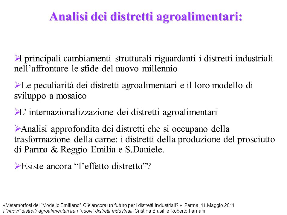 Analisi dei distretti agroalimentari: