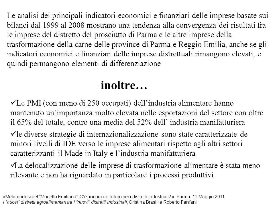 Le analisi dei principali indicatori economici e finanziari delle imprese basate sui bilanci dal 1999 al 2008 mostrano una tendenza alla convergenza dei risultati fra le imprese del distretto del prosciutto di Parma e le altre imprese della trasformazione della carne delle province di Parma e Reggio Emilia, anche se gli indicatori economici e finanziari delle imprese distrettuali rimangono elevati, e quindi permangono elementi di differenziazione inoltre…