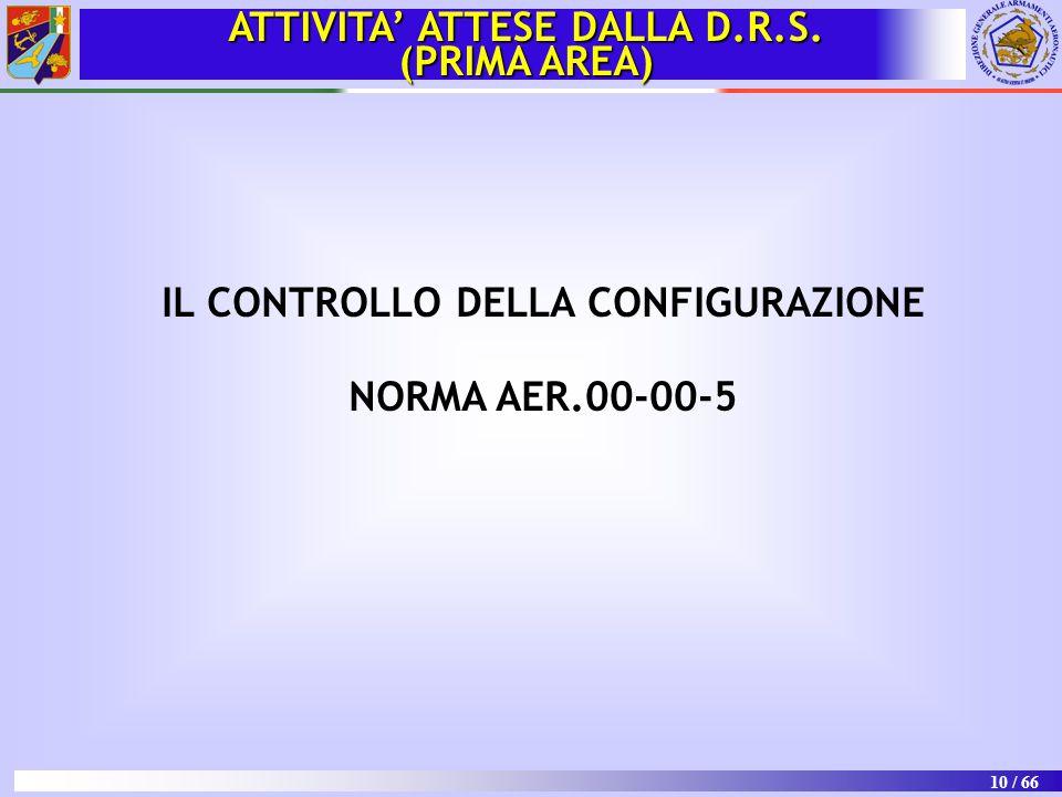 ATTIVITA' ATTESE DALLA D.R.S. IL CONTROLLO DELLA CONFIGURAZIONE