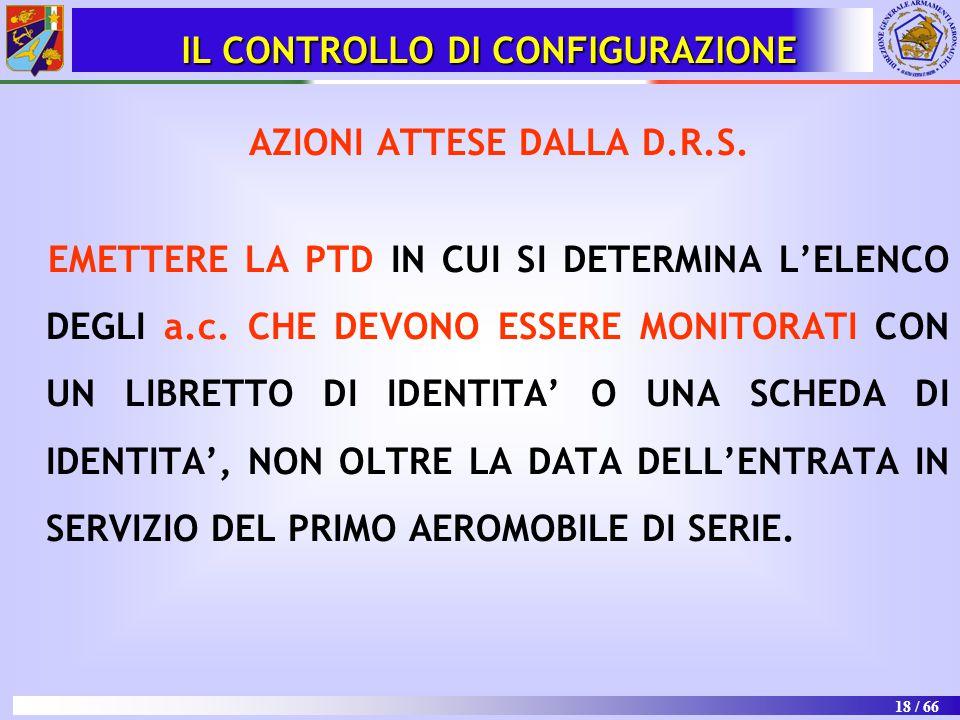 IL CONTROLLO DI CONFIGURAZIONE AZIONI ATTESE DALLA D.R.S.