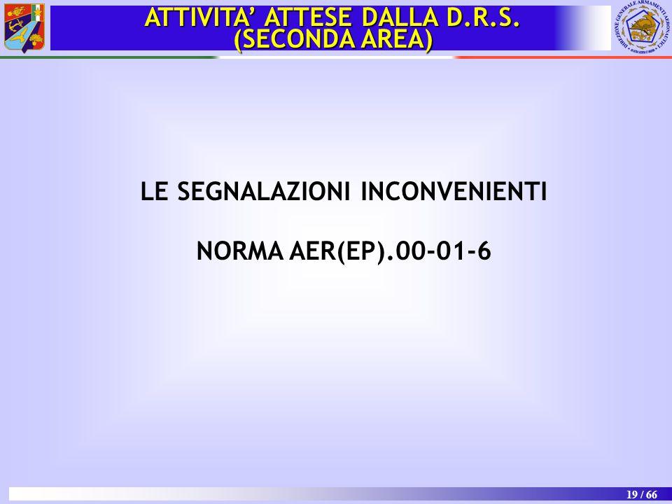 ATTIVITA' ATTESE DALLA D.R.S. LE SEGNALAZIONI INCONVENIENTI