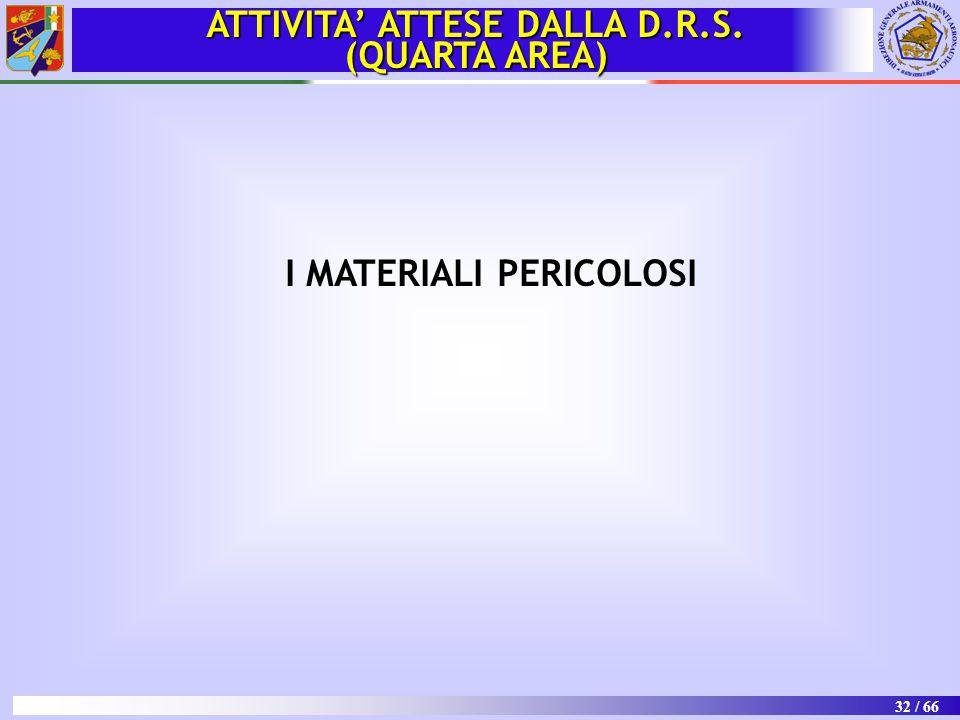 ATTIVITA' ATTESE DALLA D.R.S. I MATERIALI PERICOLOSI