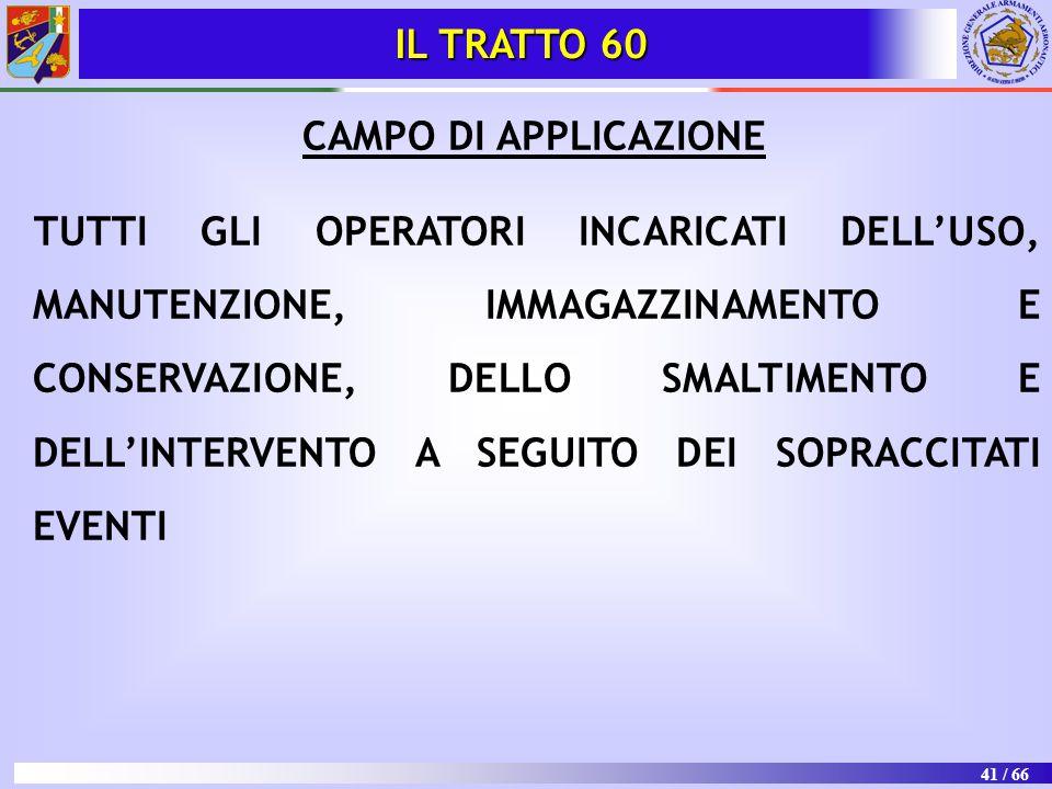 IL TRATTO 60 CAMPO DI APPLICAZIONE.