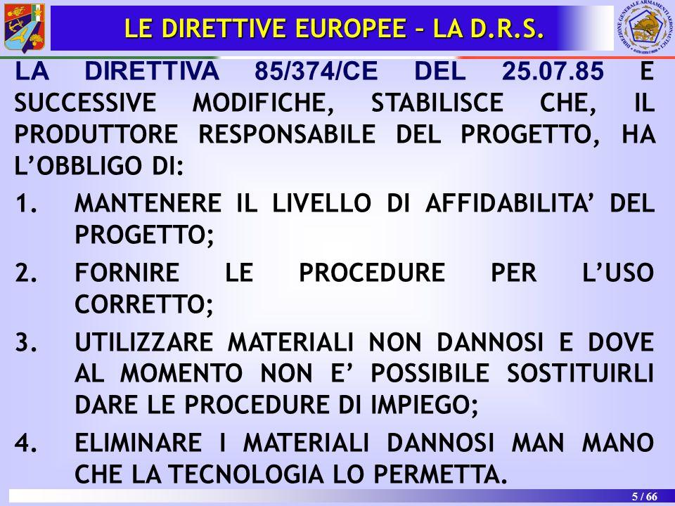 LE DIRETTIVE EUROPEE – LA D.R.S.