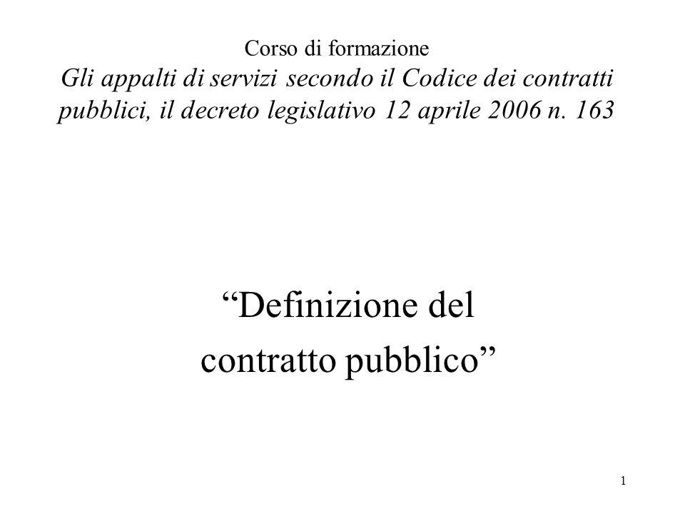 Definizione del contratto pubblico