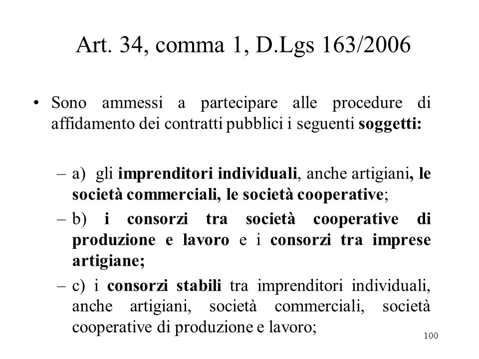 Art. 34, comma 1, D.Lgs 163/2006 Sono ammessi a partecipare alle procedure di affidamento dei contratti pubblici i seguenti soggetti: