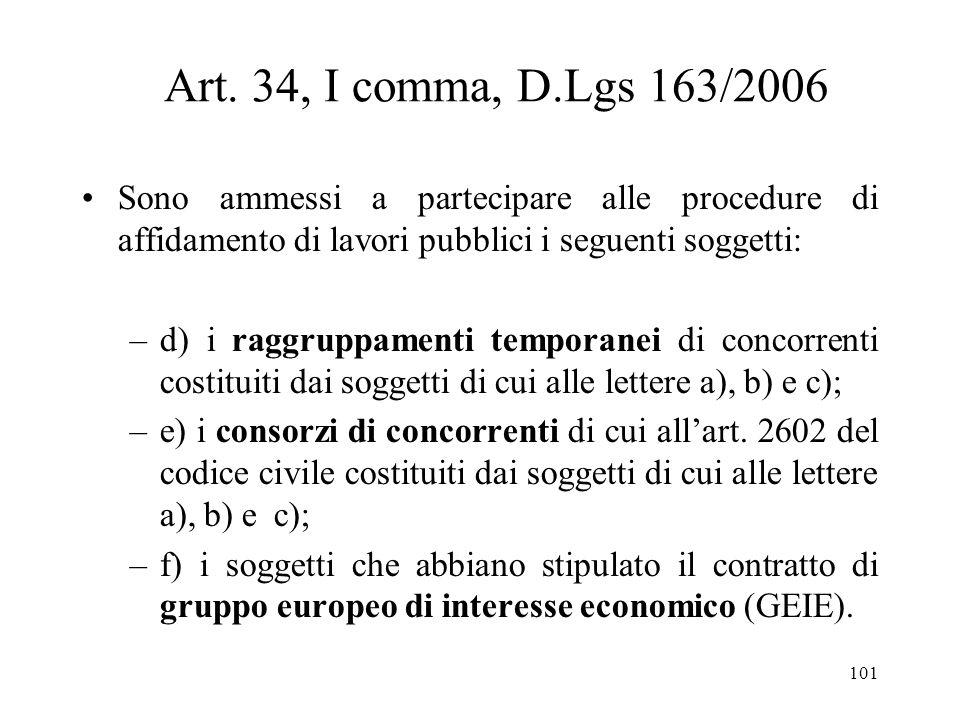 Art. 34, I comma, D.Lgs 163/2006 Sono ammessi a partecipare alle procedure di affidamento di lavori pubblici i seguenti soggetti: