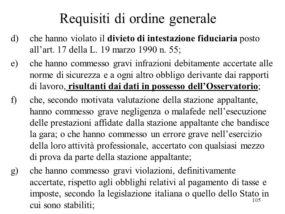 Requisiti di ordine generale