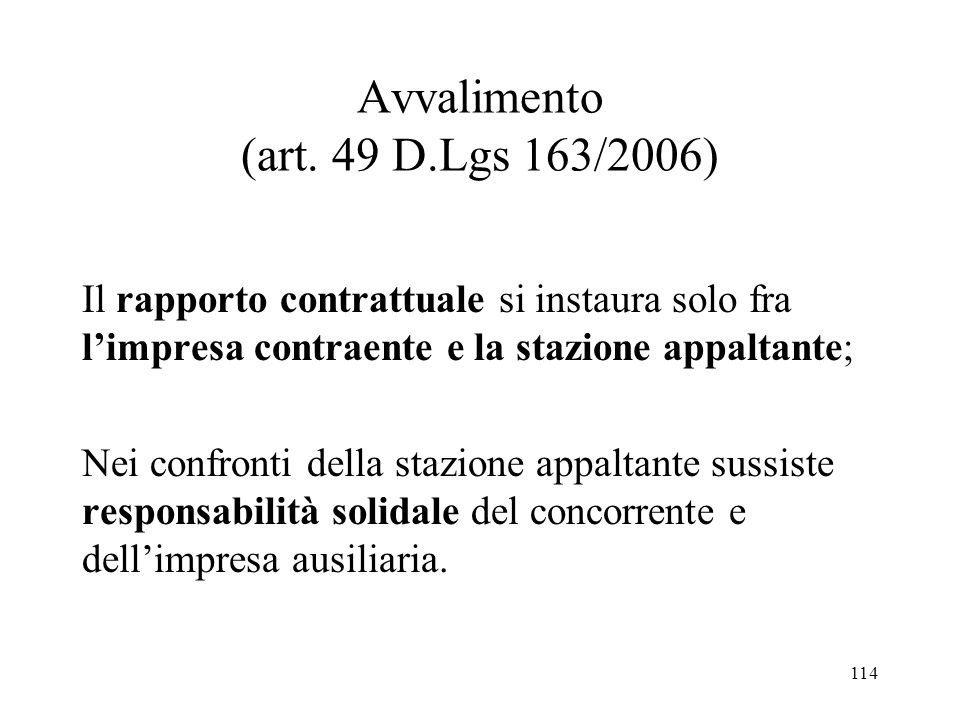 Avvalimento (art. 49 D.Lgs 163/2006)