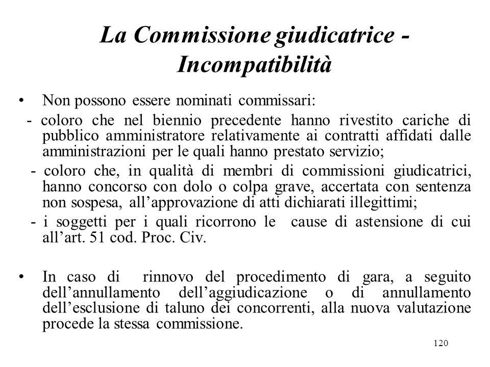 La Commissione giudicatrice -Incompatibilità