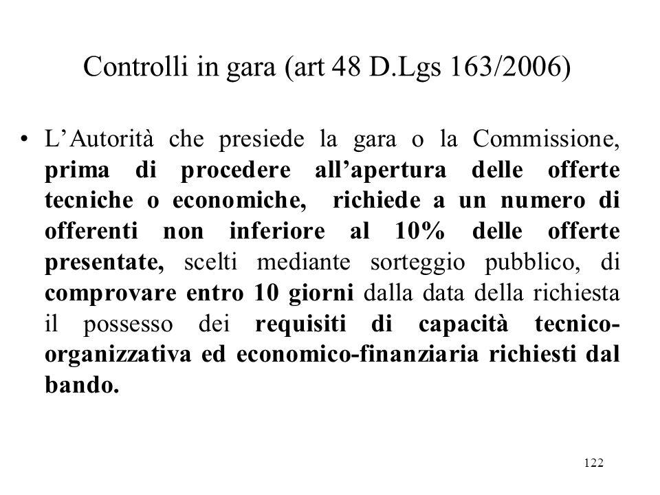 Controlli in gara (art 48 D.Lgs 163/2006)