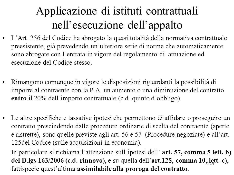 Applicazione di istituti contrattuali nell'esecuzione dell'appalto